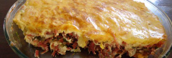 Torta de Mandioca com Carne Seca